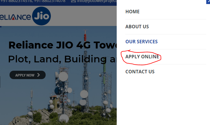 jio tower installation apply online