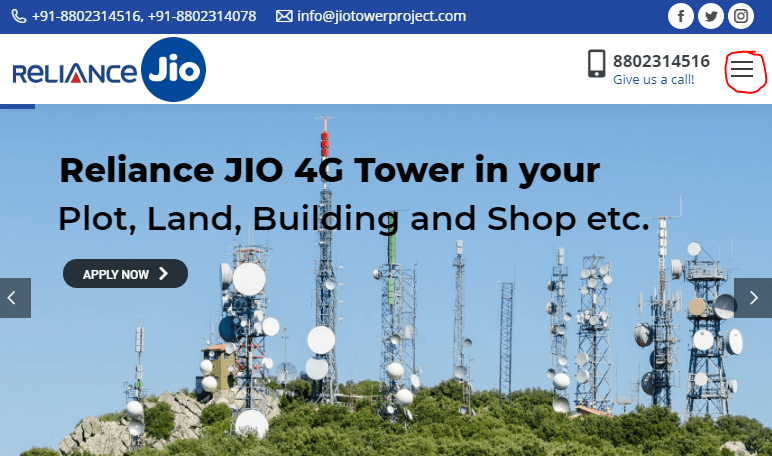 jio tower apply online