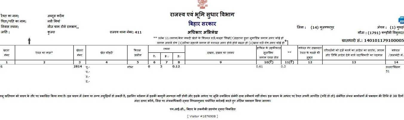 Land Record Bihar Online