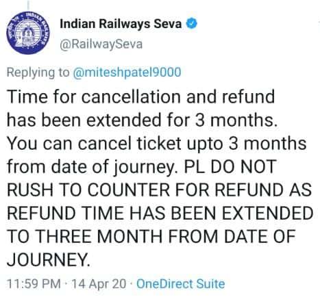 IRCTC ticket refund