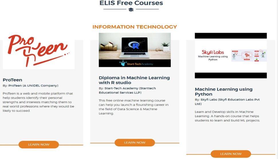 ELIS पोर्टल मुफ़्त पाठ्यक्रम