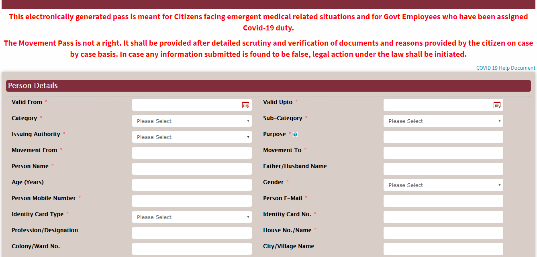 Haryana Coronavirus lockdown pass