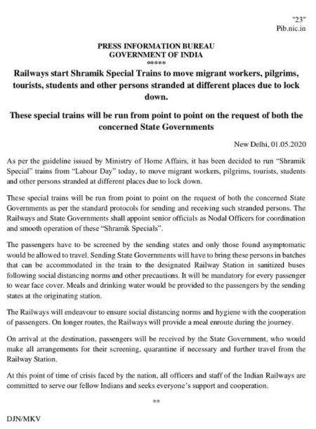 Shramik special train list 2020