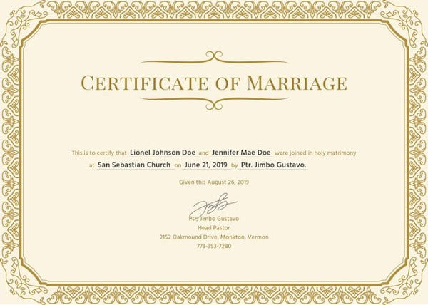 Marriage Certificate Registration
