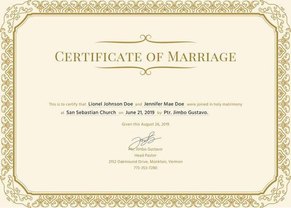 Marriage Certificate Registration