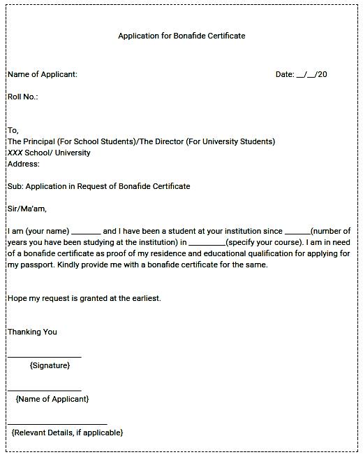 Bonafide Certificate Registration
