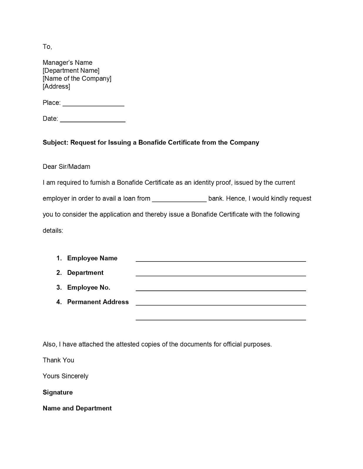 Bonafide Certificate Application Layout