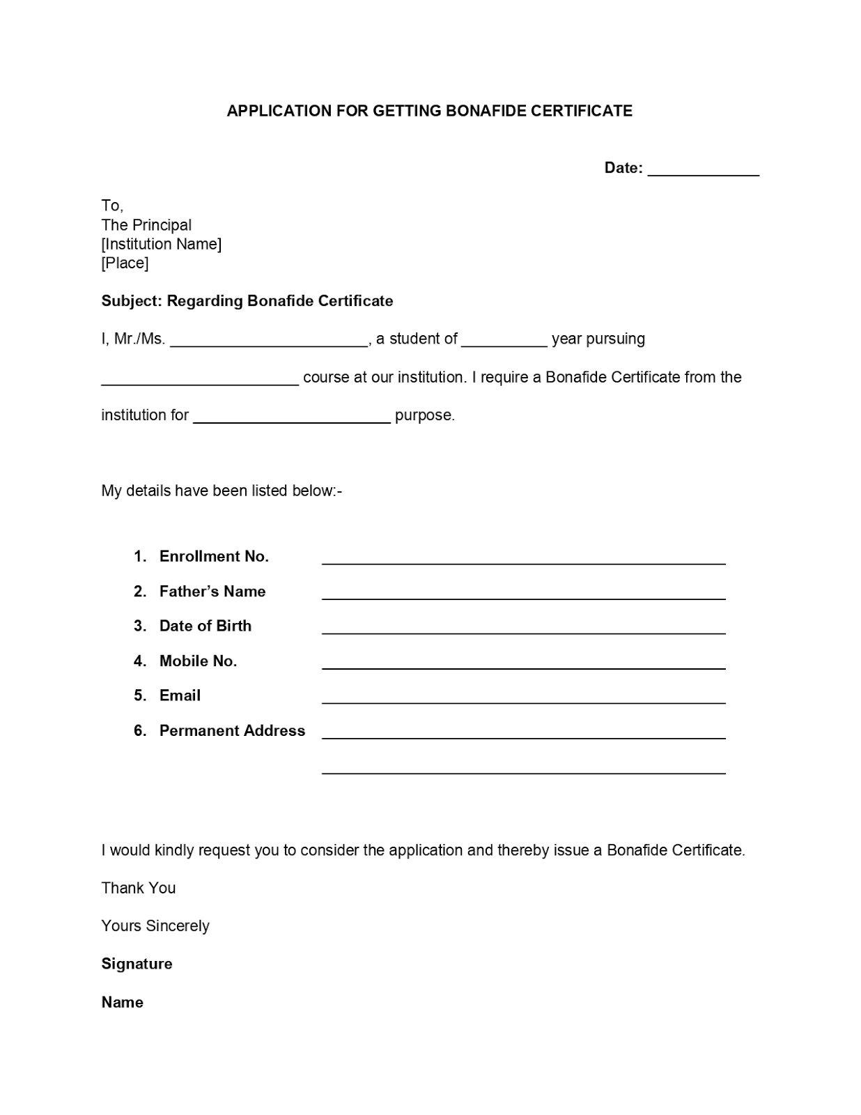 Bonafide Certificate Application