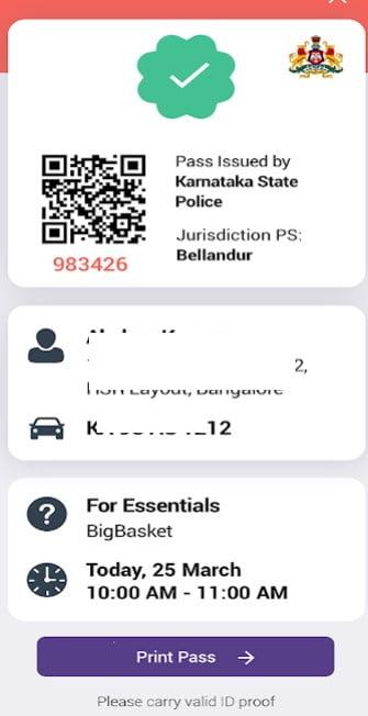 Karnataka Curfew Pass