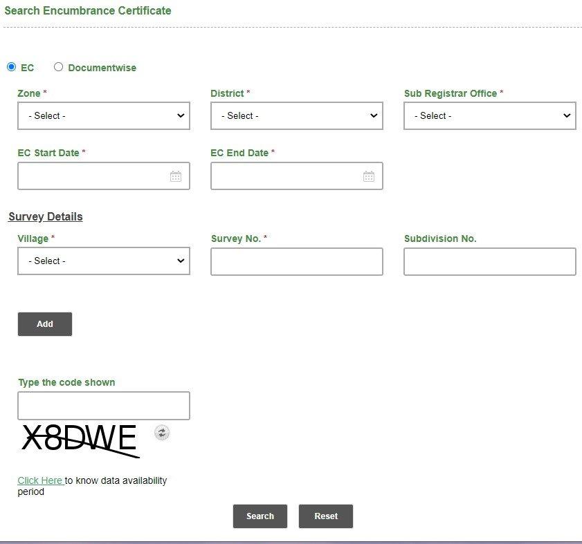 Encumbrance Certificate Online