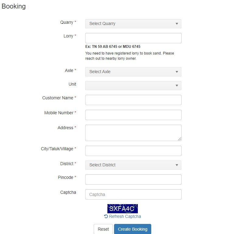 Tamil Nadu Online Sand Booking