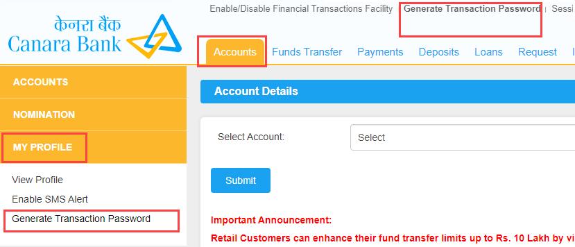transaction password canara bank