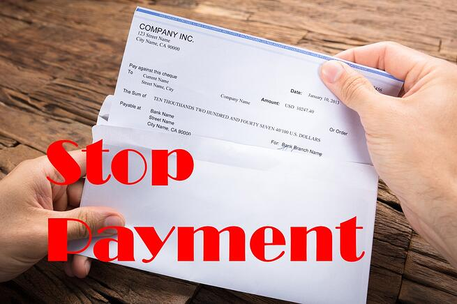 Reasons to stop payment of cheque