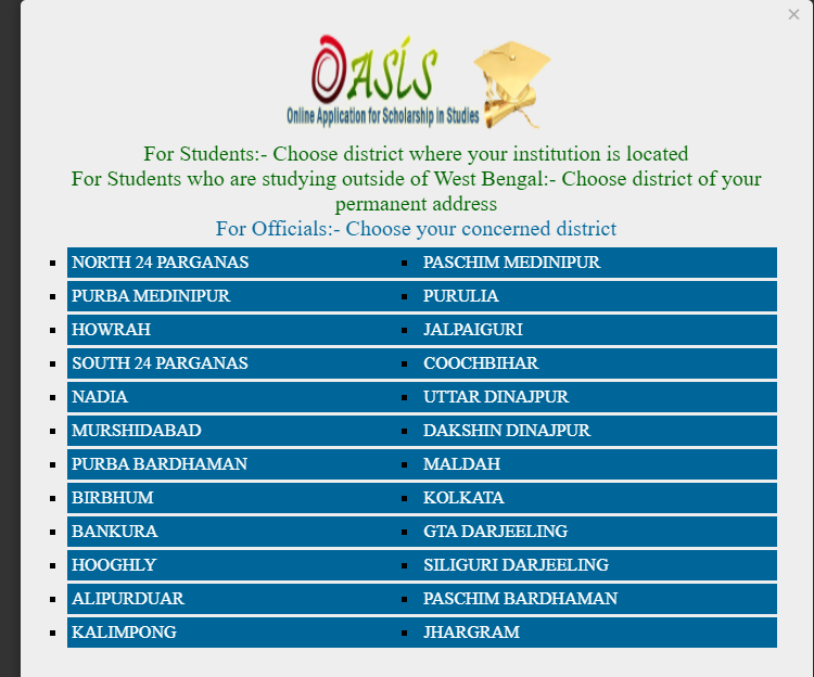 oasis.gov.in Scholarship