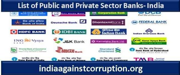 Updated List of Public and Private Sector Banks- India| (Difference B/W Public & Private Banks)