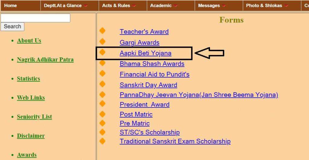Rajasthan Aapki Beti Yojana Application Form